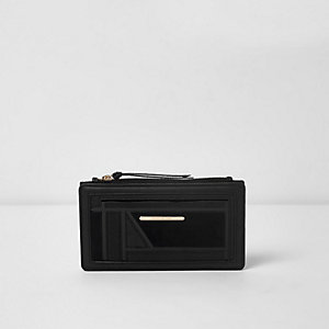 Black cutabout panel slim foldout purse