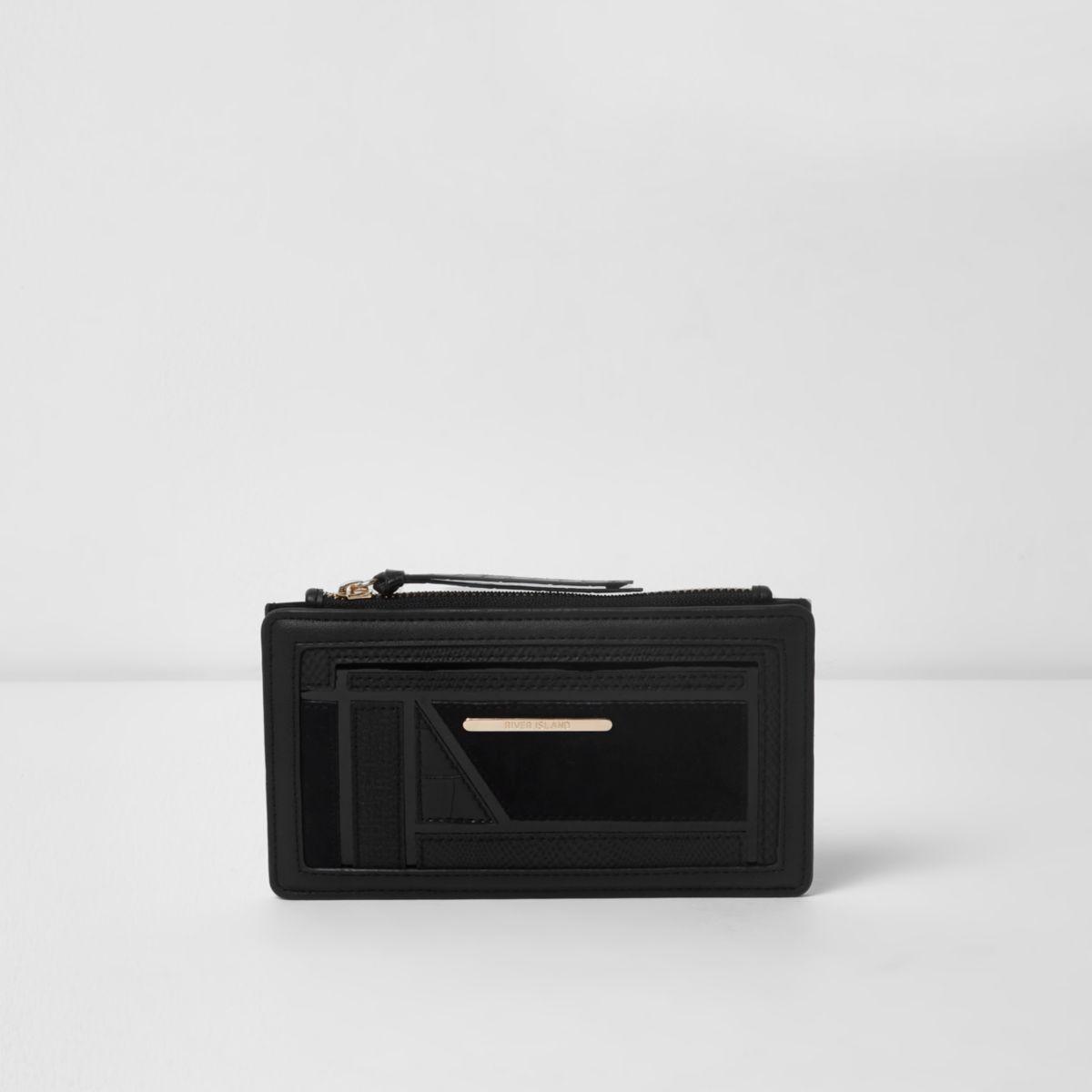 Black cutabout panel slim foldout purse