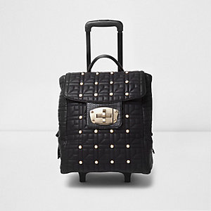 Black quilted studded lock front suitcase