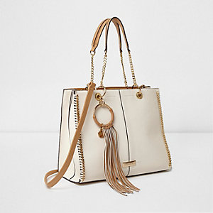 Cream and tan fringe hoop chain trim tote bag