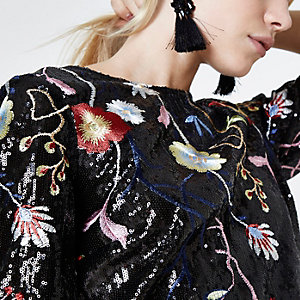 Black floral embroidered sequin top
