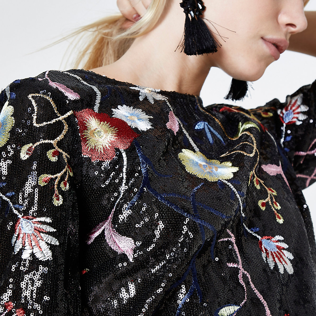 Petite black floral embroidered sequin top