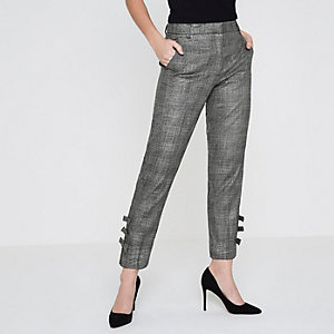 Petite grey check bow hem tailored trousers