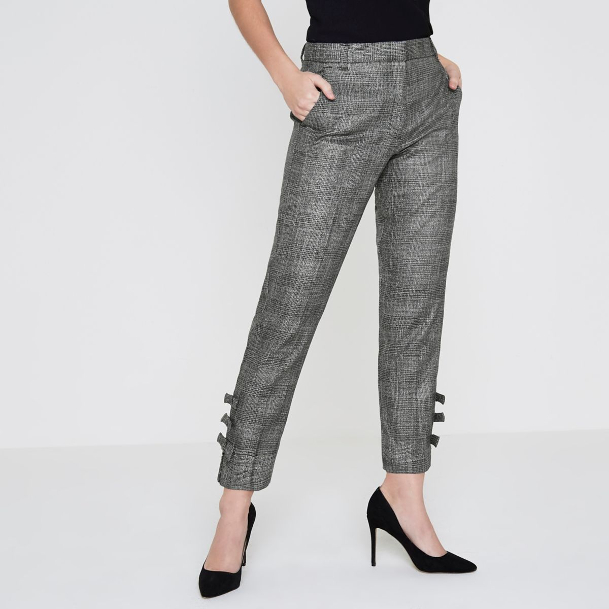 Petite grey check bow hem tailored pants