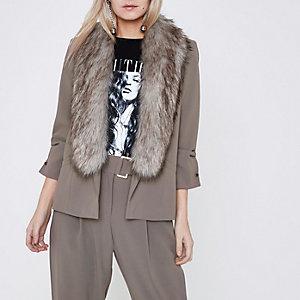 Petite grey faux fur collar blazer