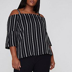 Plus black stripe bardot top