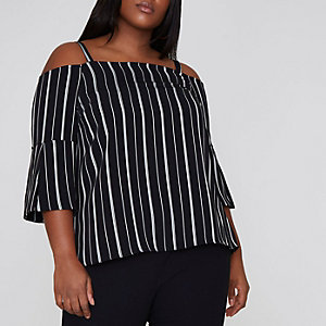 Plus black stripe bardot top