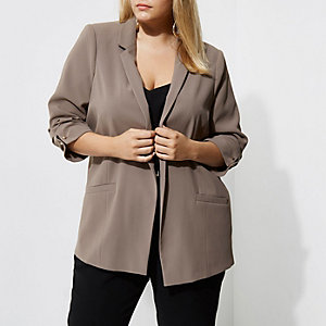 Plus mink grey bar cuff longline blazer