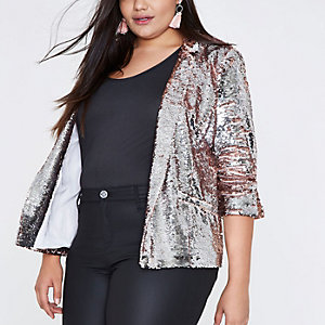 Plus silver and pink metallic sequin blazer