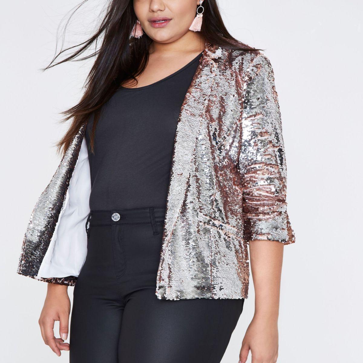 Plus silver and pink metallic sequin blazer - Coats ...