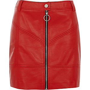 Red faux leather zip front mini skirt
