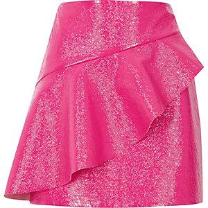 Pink vinyl frill front mini skirt