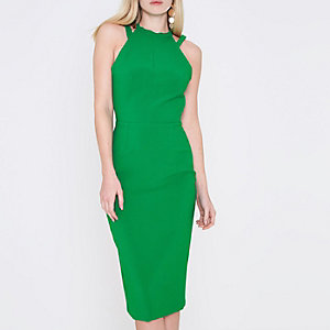Green strappy bow back bodycon dress