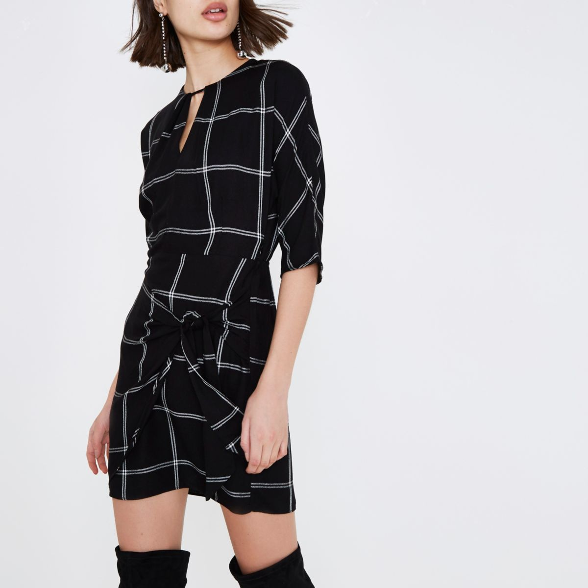 Black check batwing tie front mini dress
