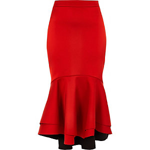 Red tiered fishtail hem satin pencil skirt