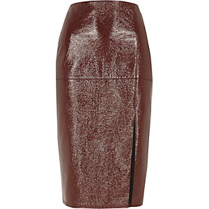 Dark red vinyl pencil skirt