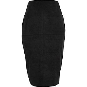 Black faux suede pencil skirt