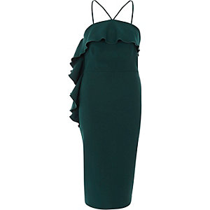 Groene nauwsluitende midi-jurk met halterhals en ruches
