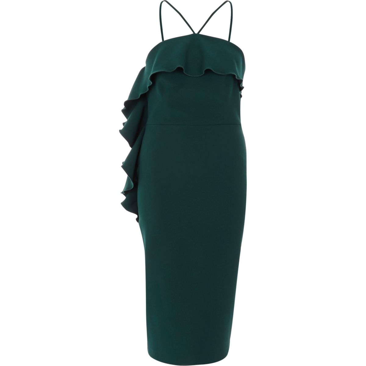 Green halter neck frill bodycon midi dress