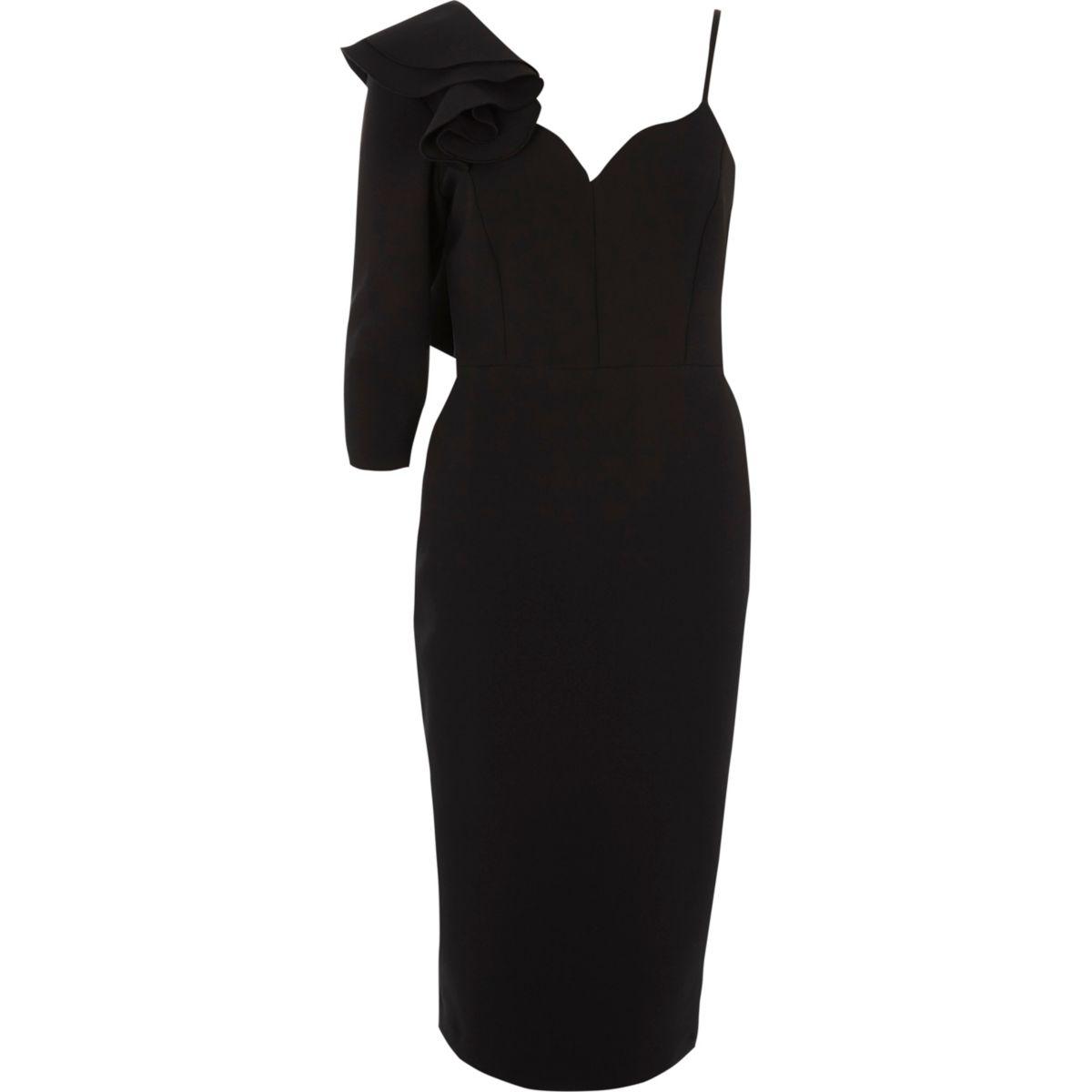 Zwarte bodycon midi-jurk met blote schouder en ruches