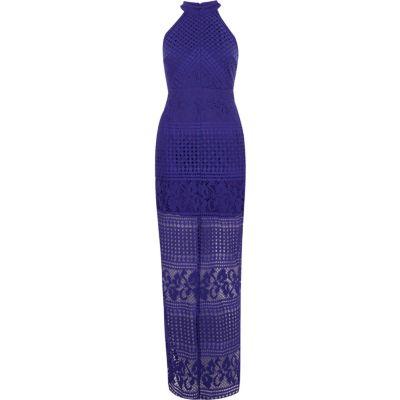 River Island Blauwe hoogsluitende kanten maxi-jurk in bodyconstijl