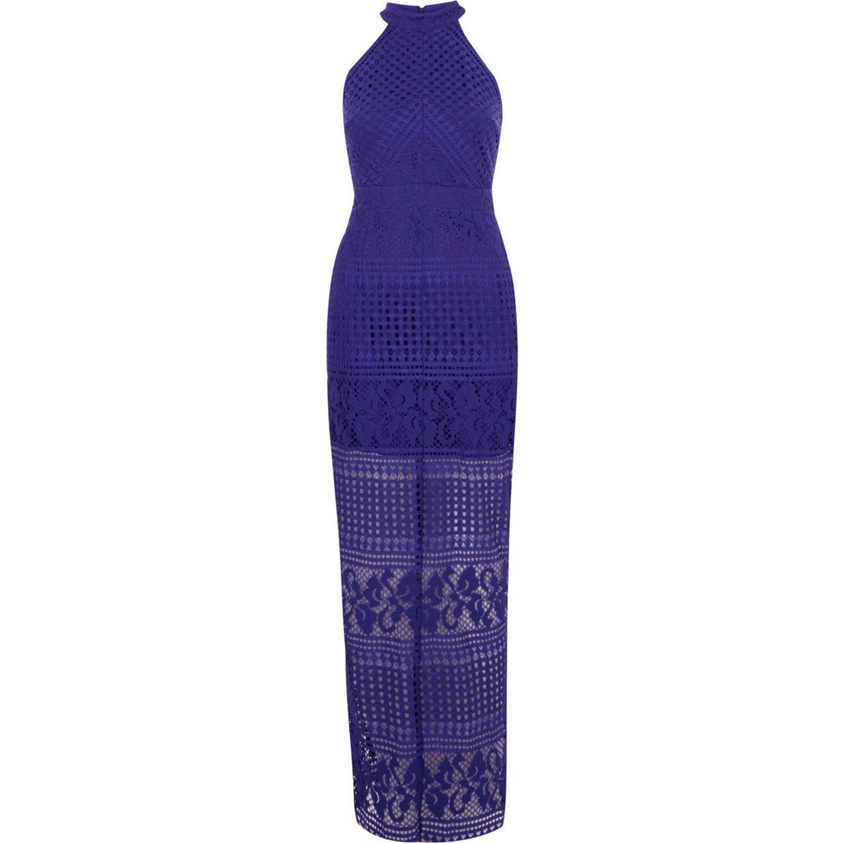 Blue lace high neck bodycon maxi dress