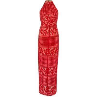 River Island Rode kanten mouwloze maxi-jurk