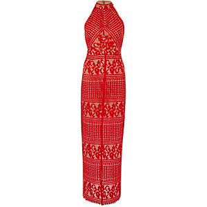 Red lace sleeveless maxi dress