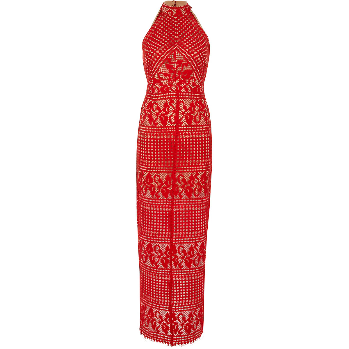 Red lace sleeveless maxi dress