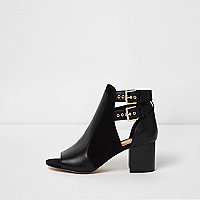 Black double buckle peep toe shoe boots
