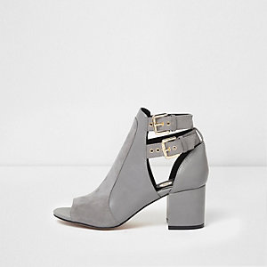 Grey double buckle peep toe shoe boots