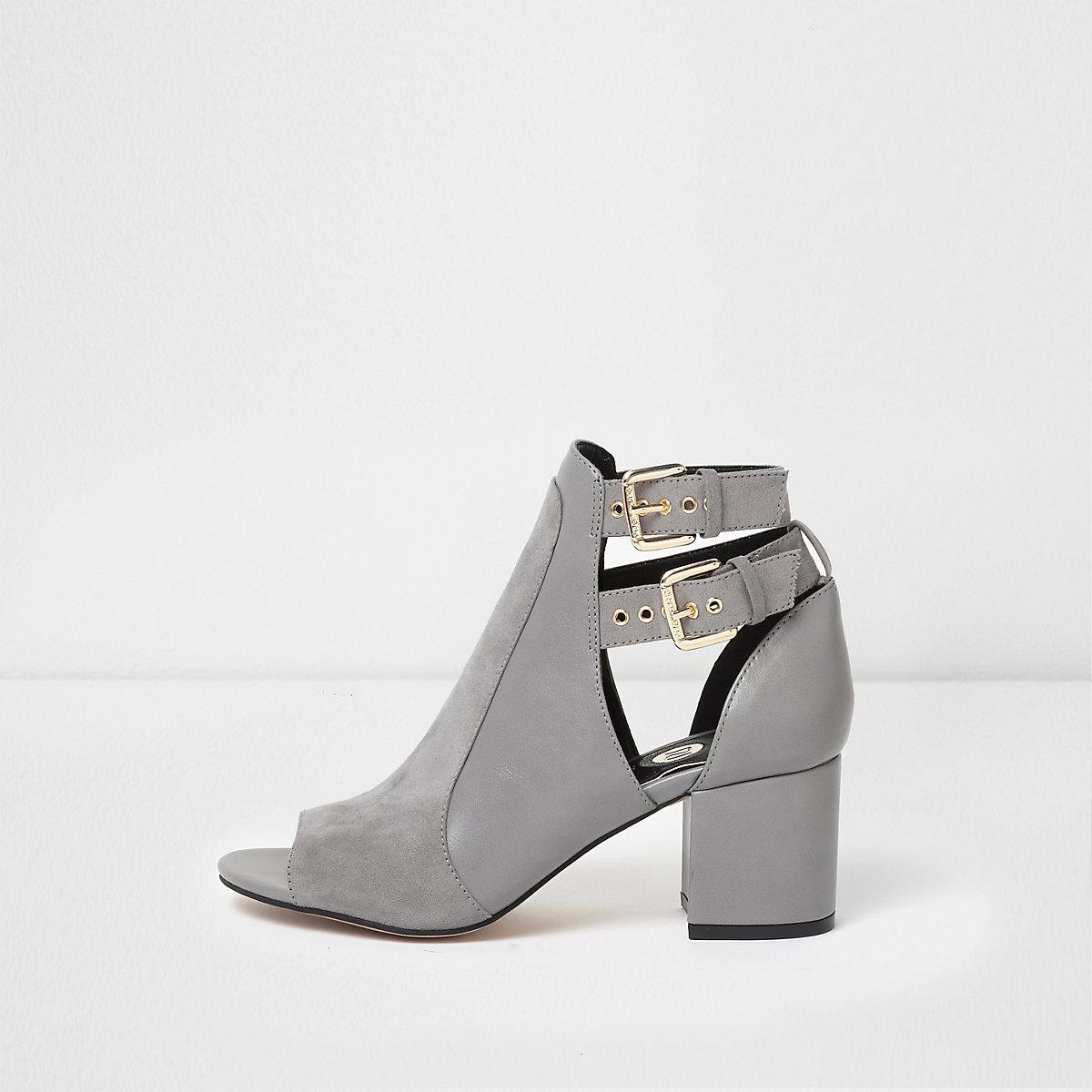 Grey double buckle peep toe shoe boots