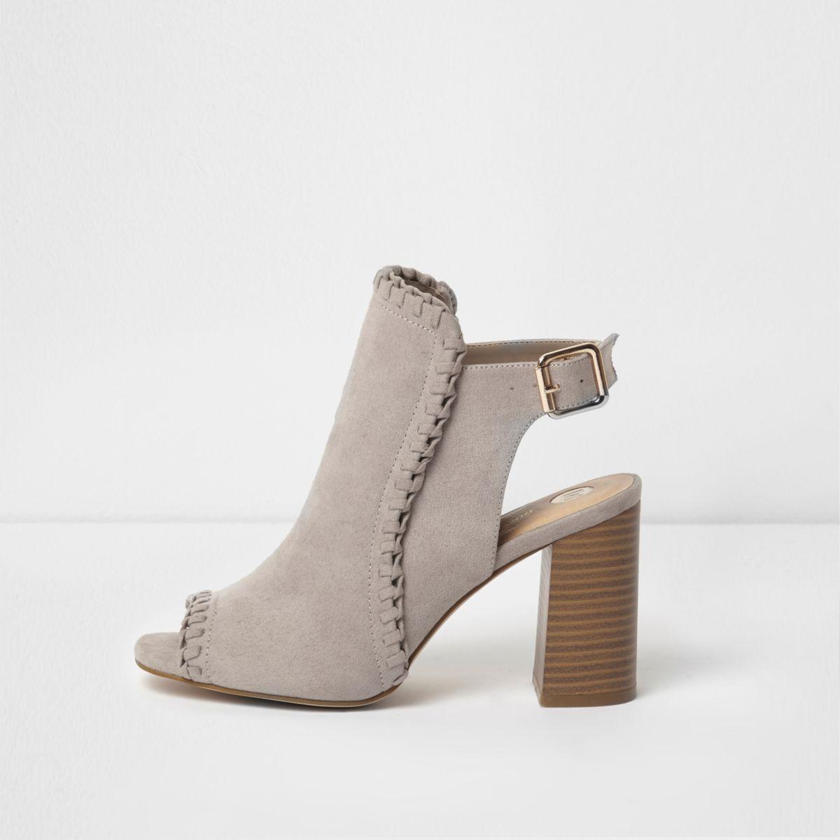 Beige peeptoe-schoenlaarsjes met blokhak