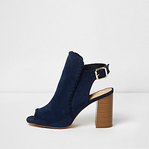 Bottines peep toe bleues à talon carré