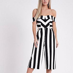 Petite black stripe bardot culotte jumpsuit