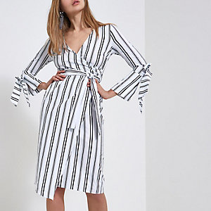 White stripe wrap front midi dress