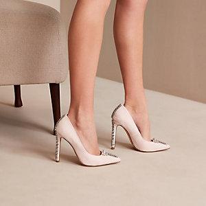 Pink Holly Fulton embellished court shoes
