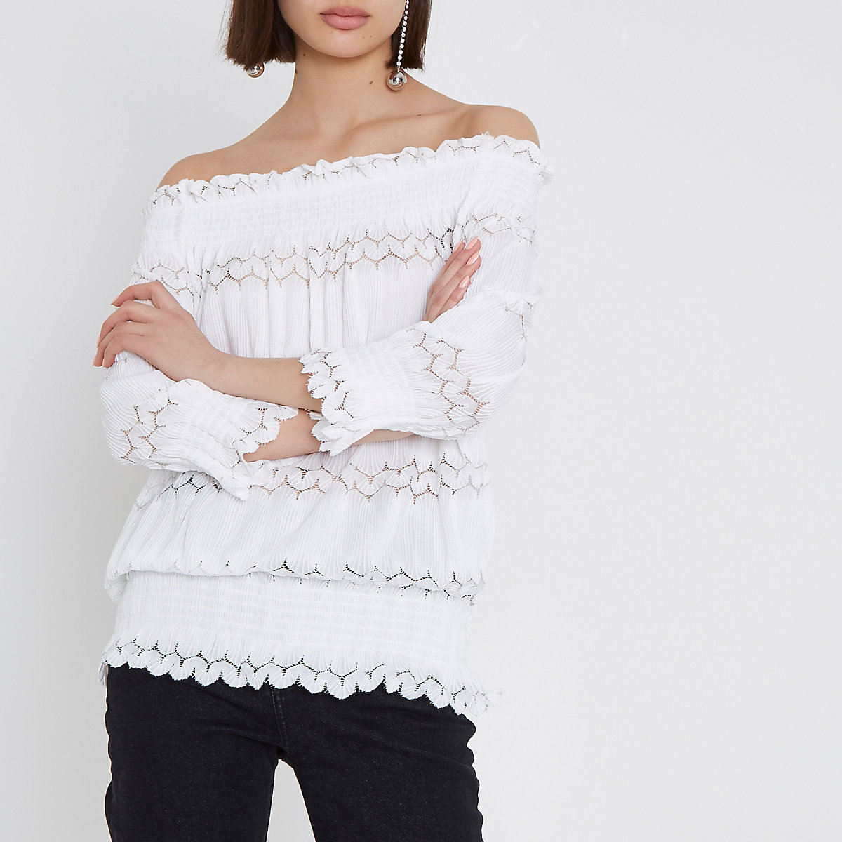 Cream lace shirred bardot top
