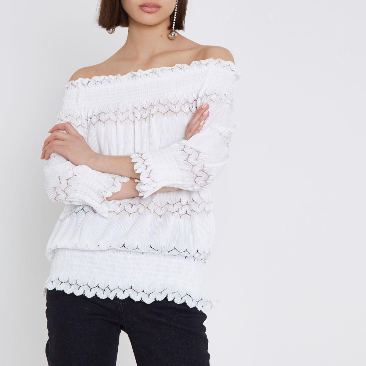Cream lace shirred bardot top