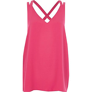 Bright pink double strap cross back tank