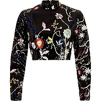 Black sequin embroidered high neck crop top