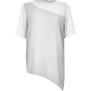 Grey contrast chiffon asymmetric hem T-shirt