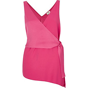 Pink wrap front sleeveless top