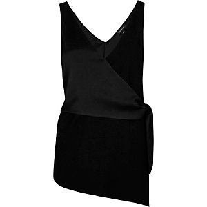 Black wrap front sleeveless top