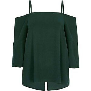 Dark green cold shoulder split sleeve top