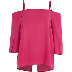 Pink cold shoulder split sleeve top