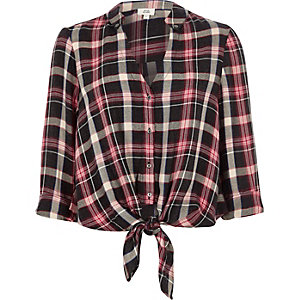 Red check tie front shirt