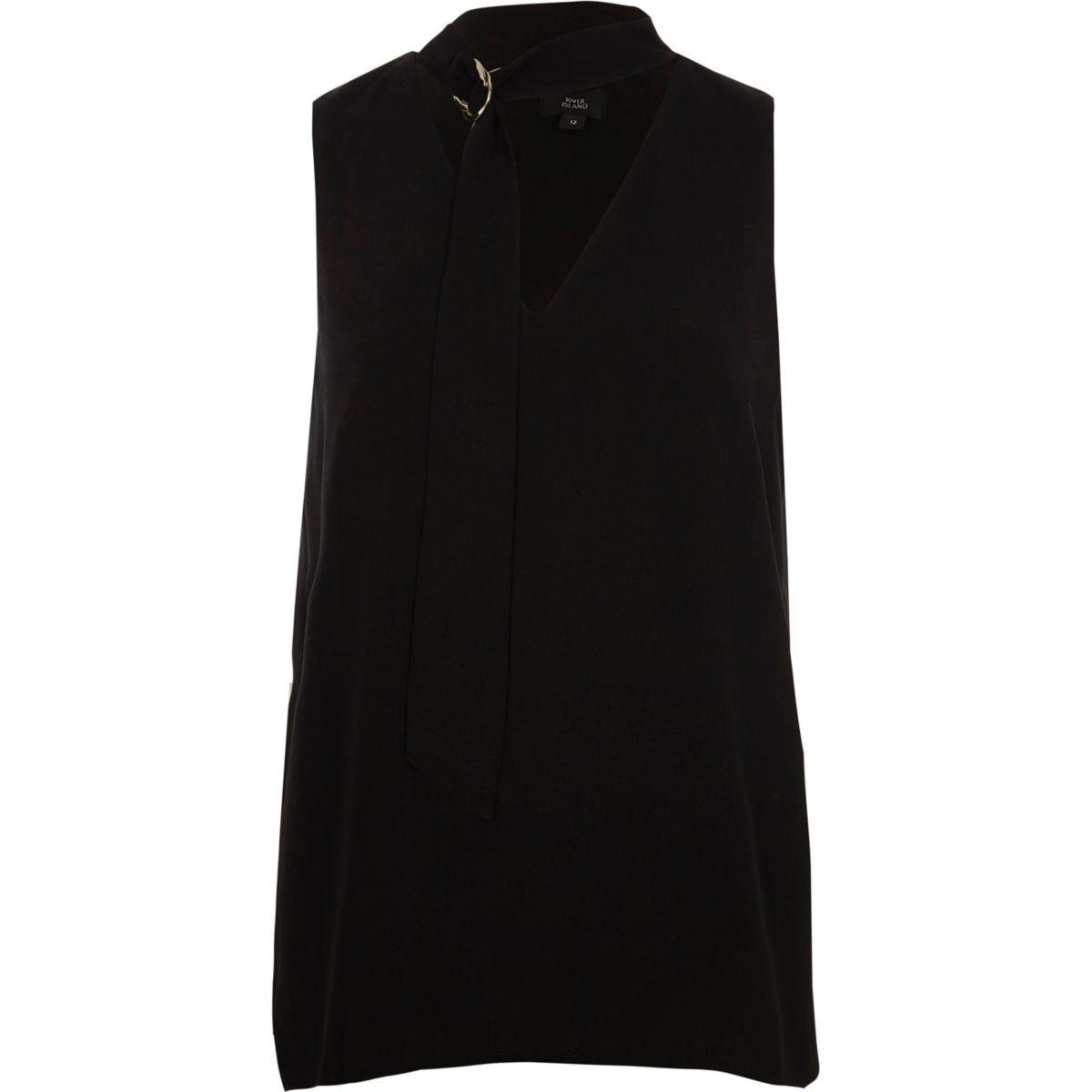 Black D ring choker sleeveless top
