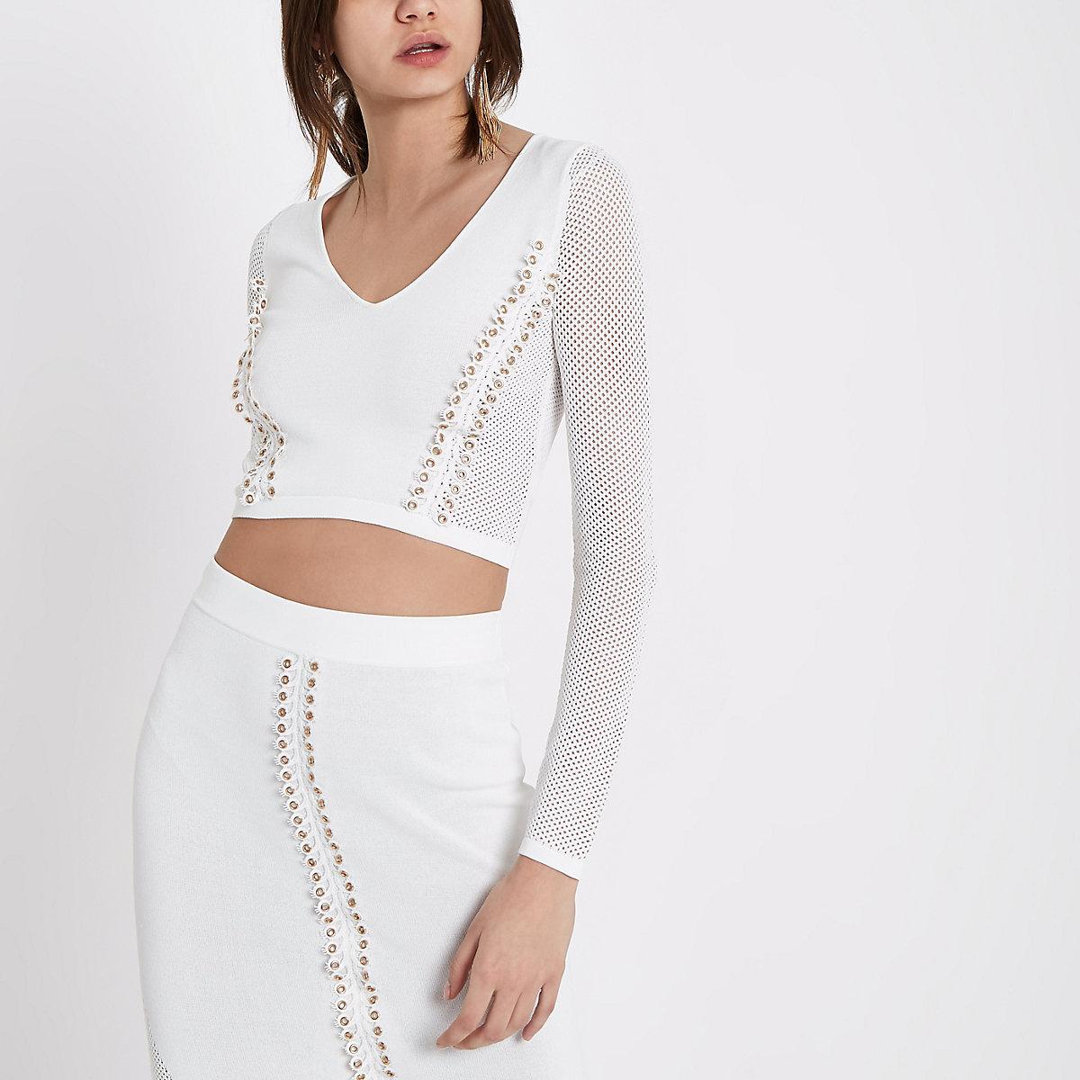 White eyelet pointelle knit V neck crop top