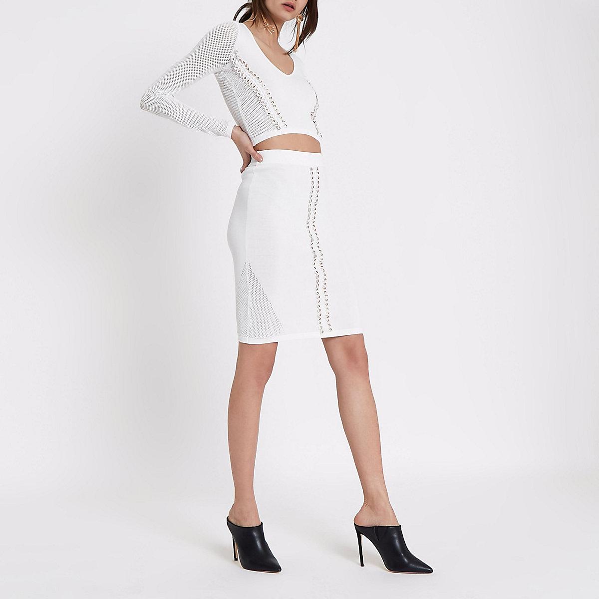 White eyelet trim pointelle knitted skirt